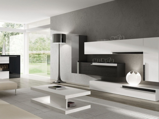 Salones modernos blanco y gris awesome muebles de salon for Cortinas salon blanco y gris